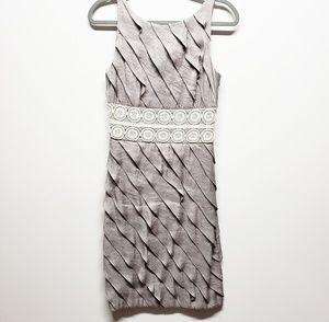Gray Silver Layered Ruffled Sheath Dress Sz 6